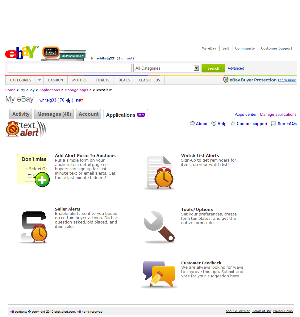 eTextAlert – eBay Seller Application
